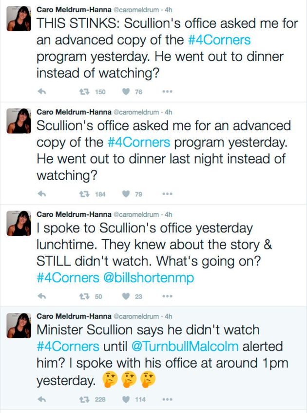 'This Stinks' -- Four Corner's reporter Caro Meldrum-Hanna calls out Scullion's initial response to the