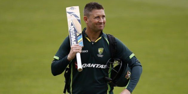Australia's captain Michael Clarke walks off the pitch after a practice session at the Oval in London...