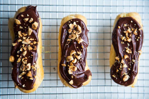 Chocolate eclairs, an all-time classic with a twist: roasted hazelnuts add a lovely texture and nutty