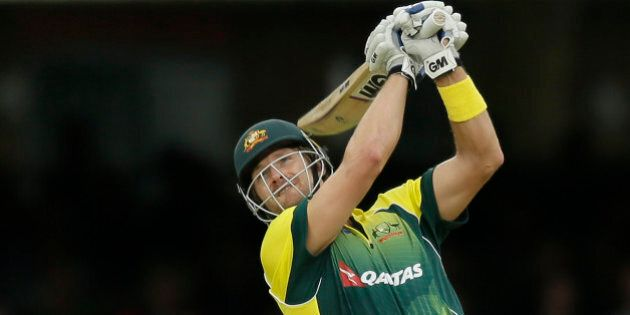 Australia's Shane Watson plays a shot for six off the bowling of England's Moeen Ali during the One...