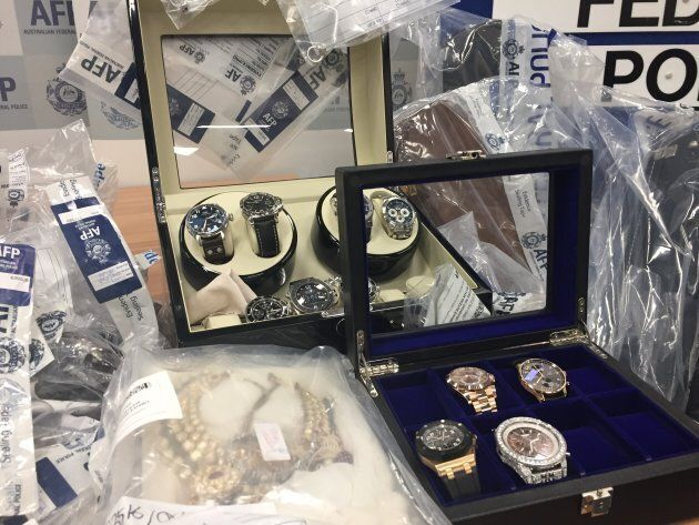 Luxury watches, worth tens of thousands each, were among the goods seized by the Australian Federal