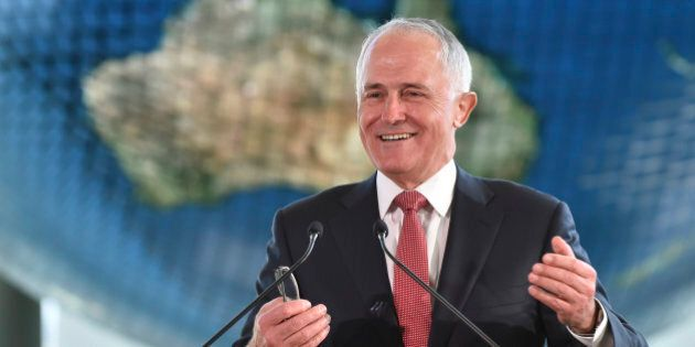 Australian Prime Minister Malcolm Turnbull delivers a speech at the National Museum of Emerging Science...