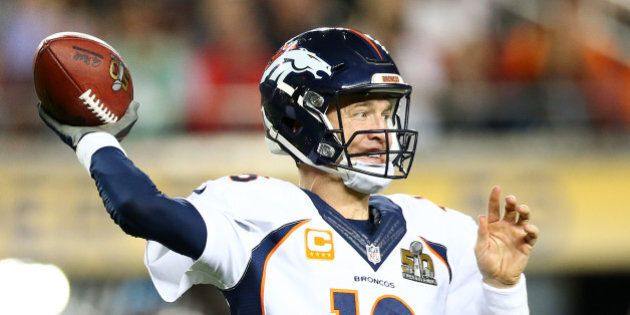SANTA CLARA, CA - FEBRUARY 07: Peyton Manning #18 of the Denver Broncos throws a pass in the fourth quarter...