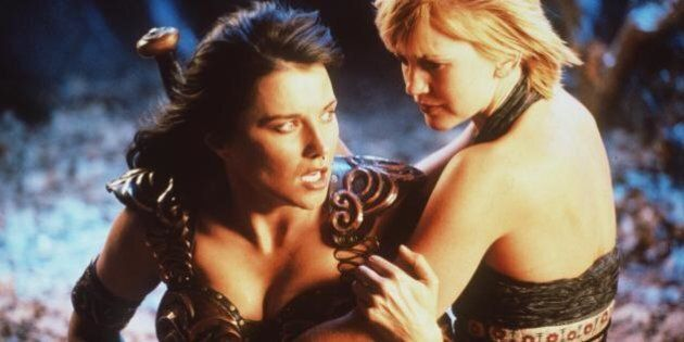 384678 05: Actress Lucy Lawless stars as Xena and Renee O''Connor stars as Gabrielle in Renaissance Pictures...