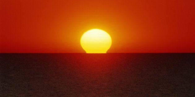 Setting sun on