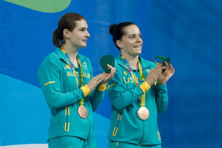 They were even in synch on the podium.