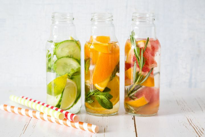 Bored of plain water? Spruce it up with fruit and herbs.
