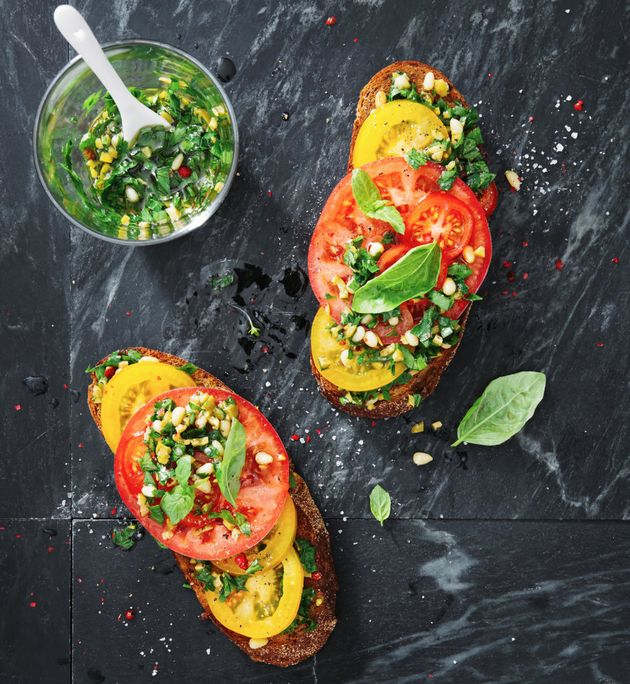 Tomato bruschetta without olive oil is like nachos with guac. Just ask Jamie
