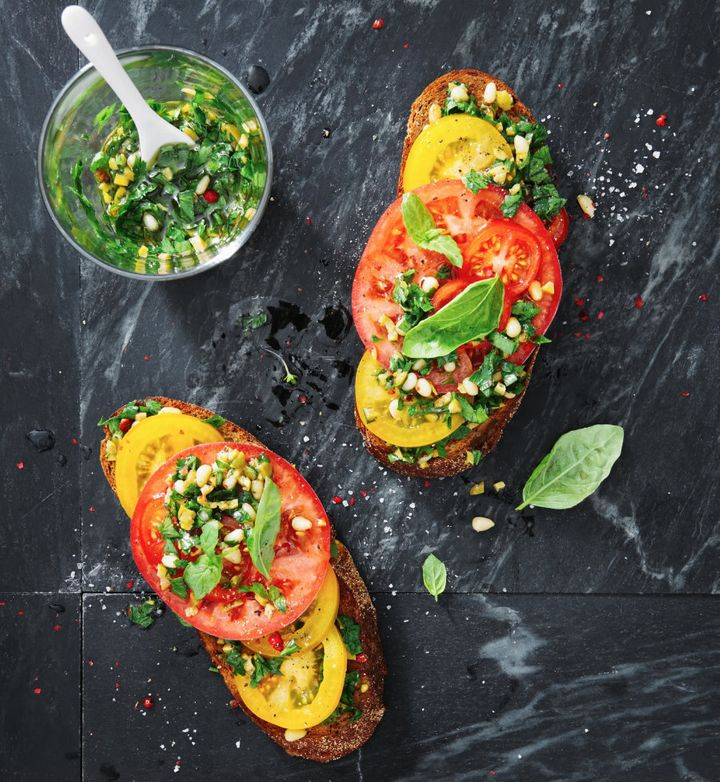 Tomato bruschetta without olive oil is like nachos with guac. Just ask Jamie Oliver.