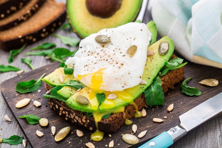 Avo and poached eggs, a classic breakfast staple.