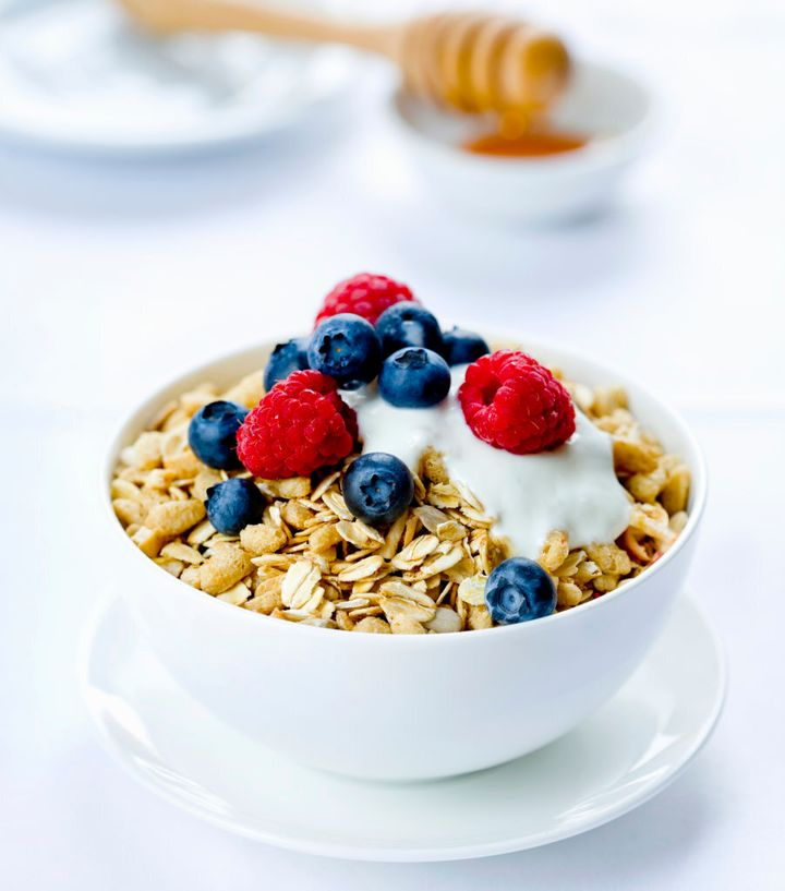Natural yoghurt has a creamy, slightly tangy flavour, lending itself beautifully to sweet berries and crunchy muesli.