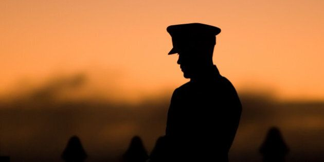 Silhouette of soldier during the Still at the State War