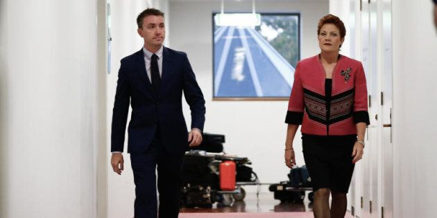 Senator Pauline Hanson and her adviser James Ashby in Parliament