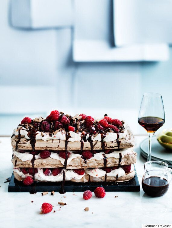 A Chocolate Raspberry Meringue Cake