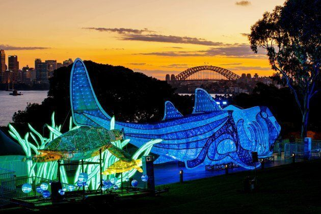 Catch a ferry to Taronga Zoo at sundown with the kids, and a feast of illuminated animal installations