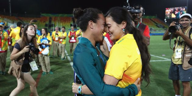 She proposed after the Australian women's rugby sevens team defeated New