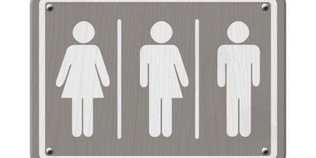 Transgender Sign, Gray and White Sign with a woman, male and transgender