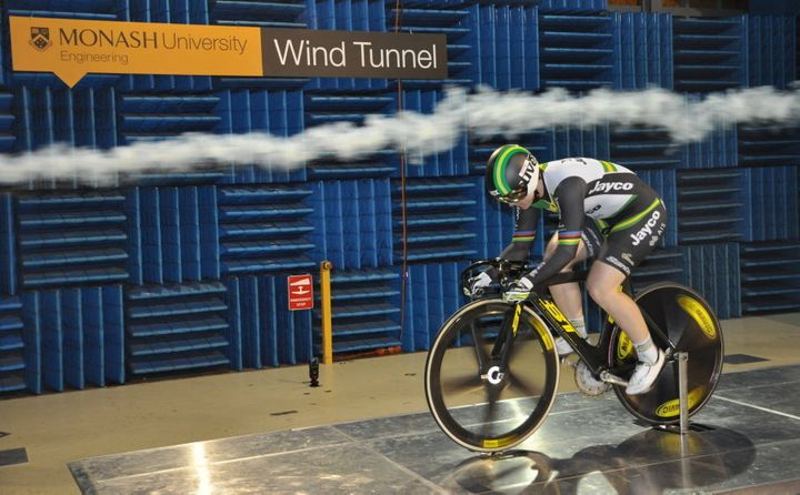 Cyclist Anna Meares trains inside the Monash University Wind Tunnel to determine drag and wind resistance.