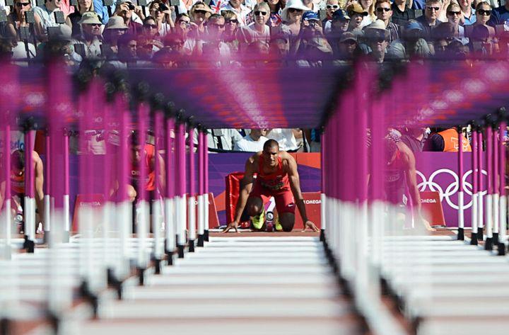 U.S. decathlon runner Ashton Eaton prepares for a heat in the London 2012 Olympic Games.