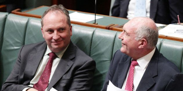 CANBERRA, AUSTRALIA - FEBRUARY 10:  Deputy Prime Minister Warren Truss and Minister for Agriculture and Water Resources Barnaby Joyce during House of Representatives question time at Parliament House on February 10, 2016 in Canberra, Australia.  (Photo by Stefan Postles/Getty Images)