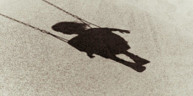 Shadow of a young child on