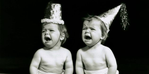 UNITED STATES - CIRCA 1950s: Portrait of babies wearing hats crying. (Photo by George Marks/Retrofile/Getty