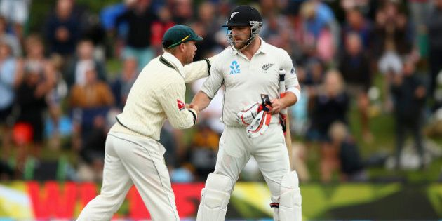 CHRISTCHURCH, NEW ZEALAND - FEBRUARY 22: Brendon McCullum of New Zealand is congraulated by David Warner...