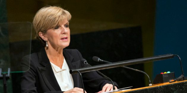 Foreign Minister of Australia Julie Bishop, addresses the 2015 Sustainable Development Summit, Sunday,...