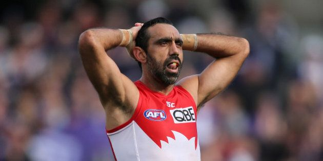 PERTH, AUSTRALIA - SEPTEMBER 12: Adam Goodes of the Swans looks on after being defeated during the First AFL Qualifying Final match between the Fremantle Dockers and the Sydney Swans at Domain Stadium on September 12, 2015 in Perth, Australia. (Photo by Paul Kane/Getty Images)