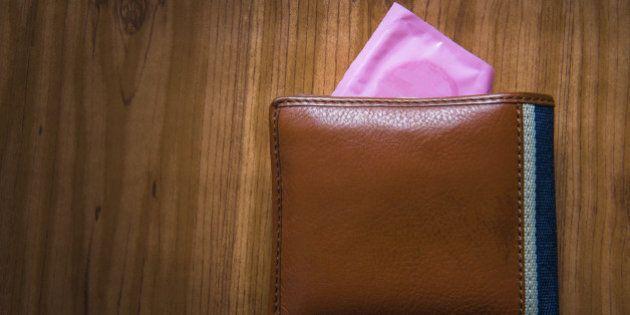 Condom put inside man wallet, Save sex