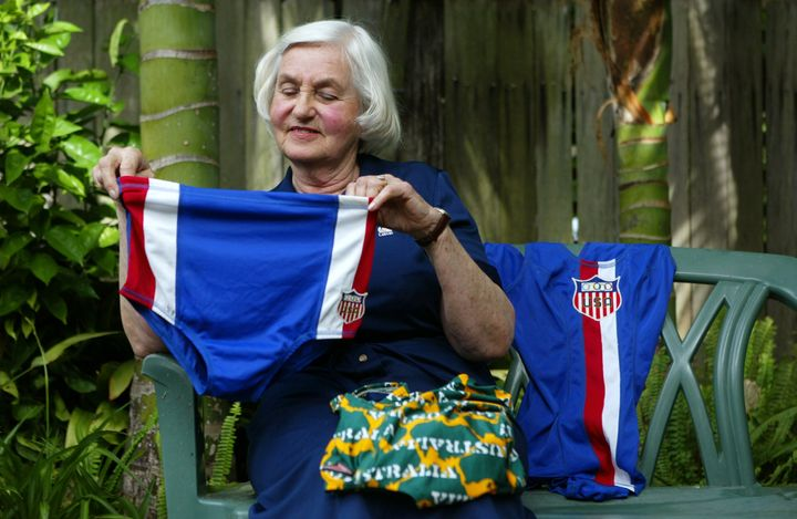This is 1960s Speedo designer Gloria Smyth with the cutting-edge, 8-inch sided trunks that the USA swim used at the 1964 Tokyo Olympic Games.
