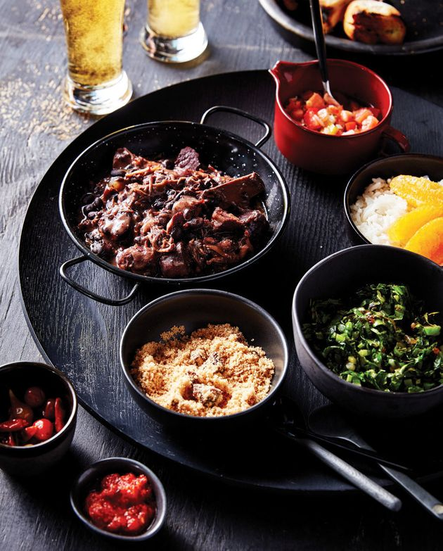 Feijoada is a stew of black beans and a variety of meats, salted, smoked and