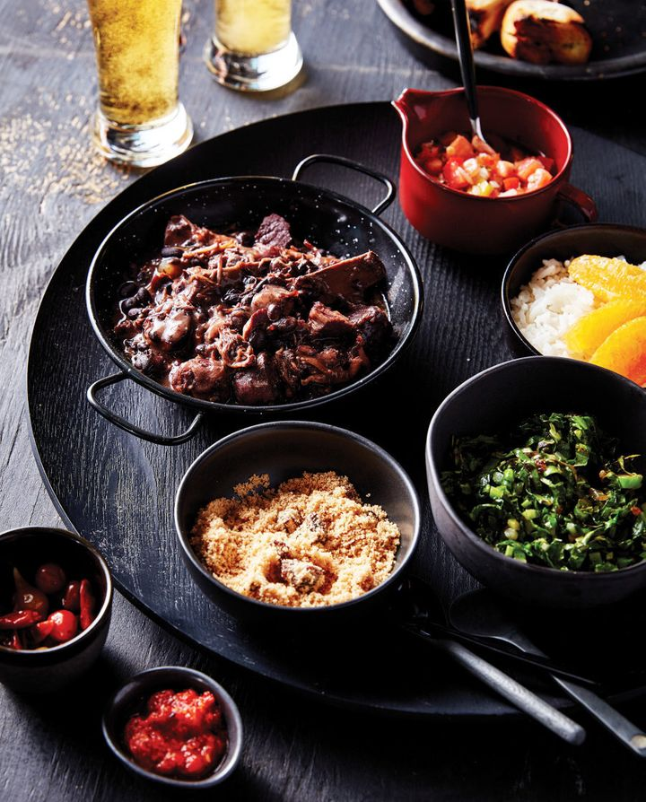 Feijoada is a stew of black beans and a variety of meats, salted, smoked and fresh.