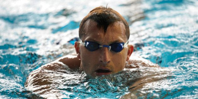 FILE - In this Nov. 3, 2011, file photo, former Olympic swimming champion Ian Thorpe, of Australia, trains in Singapore. Thorpe has come to grips with his failure to qualify for the Olympics in his comeback from retirement but is still at the games working for British TV and representing his sponsor. (AP Photo/Bryan van der Beek, File)
