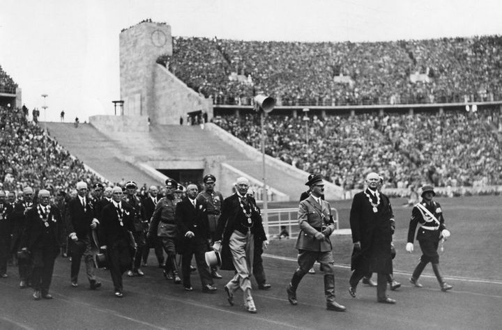 Hitler enters the Olympic stadium in Berlin, 1936