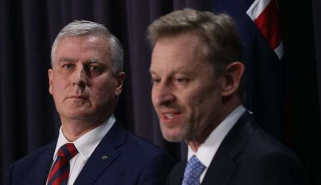 Small Business minister Michael McCormack and Australian Statistician David