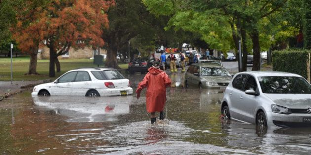 A worker wades past inundated cars on a flooded street after a storm in the eastern suburbs of Sydney...