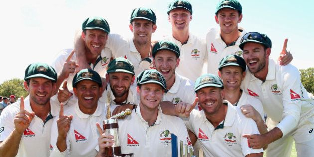 CHRISTCHURCH, NEW ZEALAND - FEBRUARY 24: The Australian Team celebrate with Trans Tasman Trophy during day five of the Test match between New Zealand and Australia at Hagley Oval on February 24, 2016 in Christchurch, New Zealand.  (Photo by Ryan Pierse/Getty Images)