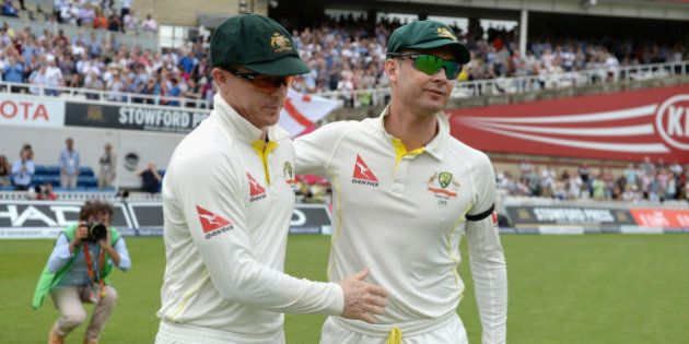 LONDON, ENGLAND - AUGUST 23:  Australian captain Michael Clarke and Chris Rogers embrace ahead of day four of the 5th Investec Ashes Test match between England and Australia at The Kia Oval on August 23, 2015 in London, United Kingdom.  (Photo by Gareth Copley/Getty Images)
