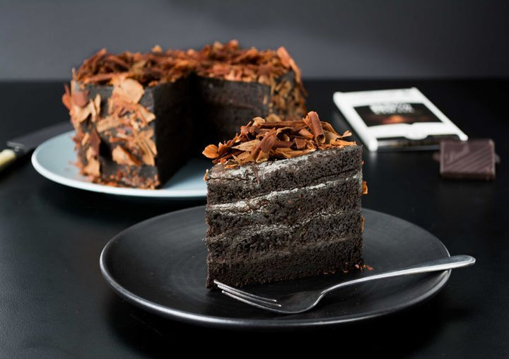 A stunning deep, dark and moist cake with delectable chocolate flavours from the high cocoa content chocolate.