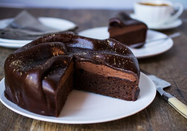 This gateau layers rich, smooth chocolate cake with a velvety chocolate mousse. The gold dust provides...