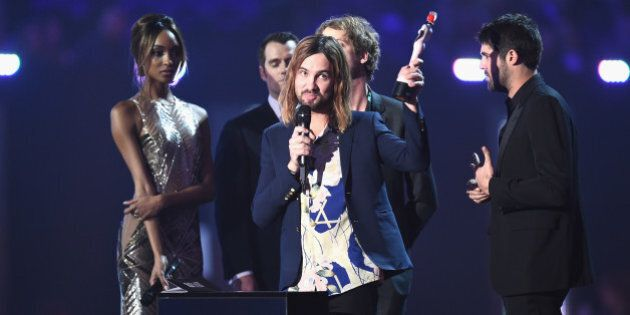 LONDON, ENGLAND - FEBRUARY 24: Kevin Palmer from Tame Impala with their Best International Group award...