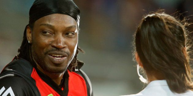 HOBART, AUSTRALIA - JANUARY 04: Chris Gayle of the Melbourne Renegades gives a TV interview to Mel Mclaughlin...