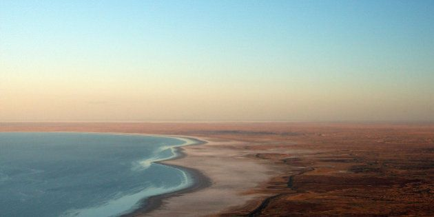 OODNADATTA, AUSTRALIA - MAY 07: An aerial view of Lake Eyre during the Great Australian Cattle Drive...