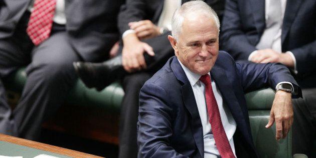 CANBERRA, AUSTRALIA - FEBRUARY 11: Prime Minister Malcolm Turnbull listens to Deputy Prime Minister Warren...