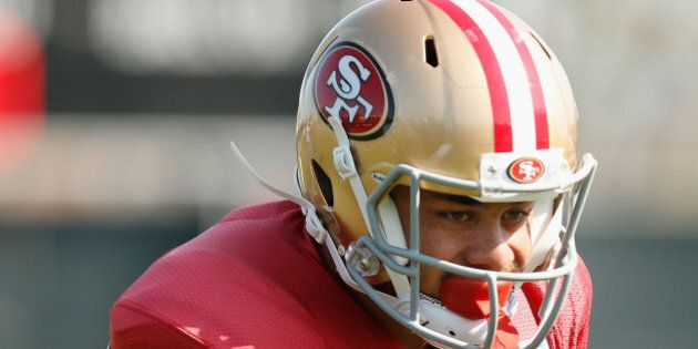 SANTA CLARA, CA - AUGUST 7: Jarryd Hayne #38 of the San Francisco 49ers runs drills during a San Francisco 49ers practice session at Levi's Stadium on August 7, 2015 in Santa Clara, California. (Photo by Lachlan Cunningham/Getty Images)