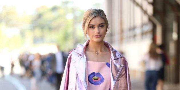 SYDNEY, AUSTRALIA - APRIL 15: Sarah Ellen attends at Mercedes-Benz Fashion Week Australia 2015 at Carriageworks...