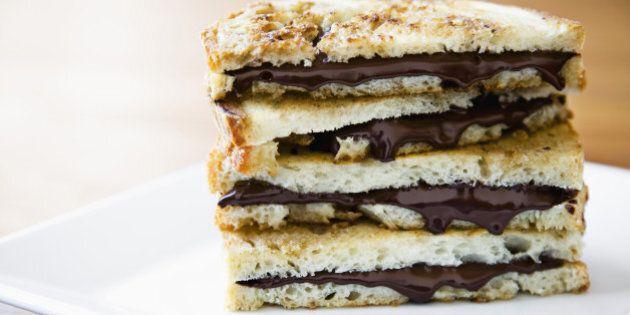 Toast with chocolate hazelnut