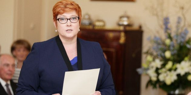 CANBERRA, AUSTRALIA - SEPTEMBER 21: Minister for Defence Marise Payne is sworn in by Governor-General...