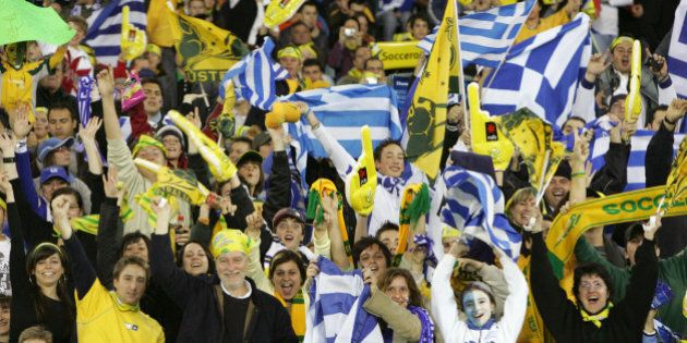 (AUSTRALIA & NEW ZEALAND OUT) Soccer 2006. Supporters of both countries cheer from the stands during...